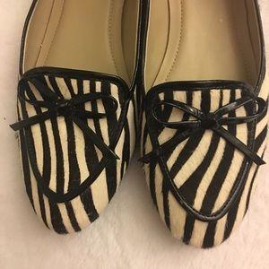 Ellen Tracy Cow Hair Zebra Print Flats